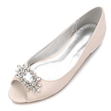 billige Utvalgte tilbud-Dame bryllup sko Flat hæl Titte Tå Rhinsten / Gummi Sateng Komfort / Ballerina Vår Blå / Lysebrun / Krystall / Bryllup / Fest / aften