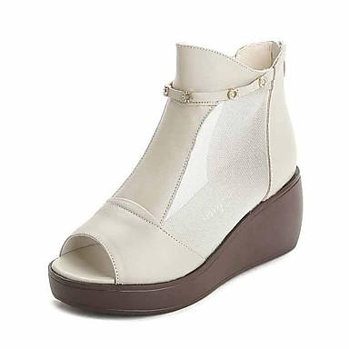 98cfb76a749fd نسائي حذاء ذو كعب عريض جلد الربيع ارتفاع كلاسيكي صنادل كعب إسفينWedge Heel  أبيض   أسود   أصفر 6663841 2019 –  39.99