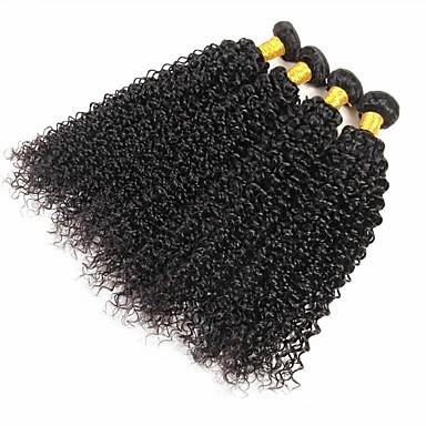 4 pakker Brasiliansk hår Krøllet Ekte hår Hairextensions med menneskehår Naturlig Farge Hårvever med menneskehår Ekstensjon Hot Salg Hairextensions med menneskehår / 8A