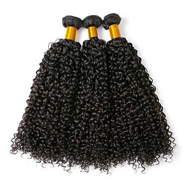 cheap Clearance-3 Bundles Brazilian Hair Curly Human Hair 150 g Natural Color Hair Weaves / Hair Bulk Extension 8-28 inch Black Natural Color Human Hair Weaves Best Quality Hot Sale For Black Women Human Hair / 8A