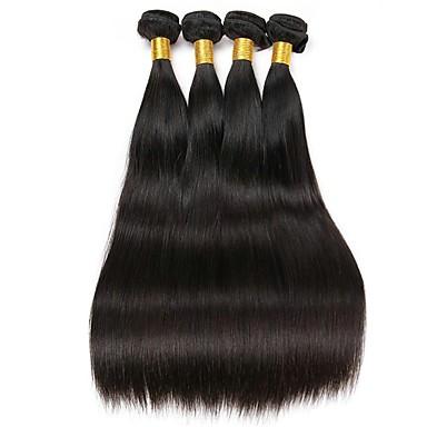 4 pakker Malaysisk hår Rett Ekte hår Menneskehår Vevet Hairextensions med menneskehår Naturlig Farge Hårvever med menneskehår Ekstensjon Hot Salg Hairextensions med menneskehår / 8A