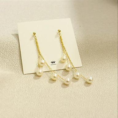 levne Dámské šperky-Dámské Sladkovodní perla Visací náušnice Vícevrstvé korejština Módní Vícevrstvé Pozlaceno 18k Sladkovodní perla Náušnice Šperky Zlatá Pro Párty Dar