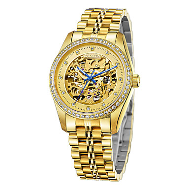 levne Pánské-CADISEN Pánské Hodinky s lebkou mechanické hodinky japonština Nerez Bílá / Zlatá 50 m Voděodolné S dutým gravírováním imitace Diamond Analogové Luxus Kostra - Zlatá Gold / White