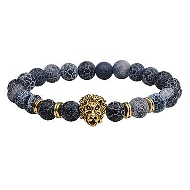 voordelige Herensieraden-Heren Vulkanische steen Kralenarmband kralen Leeuw chakra Vintage Modieus Equilibrio Steen Armband sieraden Zwart / Zilver / Bruin Voor Lahja Straat