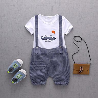 Barn Baby Gutt Aktiv Grunnleggende Daglig Ferie Trykt mønster Trykt mønster Kortermet Normal Bomull Tøysett Blå