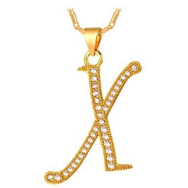 Herre Kubisk Zirkonium Anheng Halskjede Navn Alfabet Formet Bokstaver Mote Kobber Gull Sølv 55 cm Halskjeder Smykker Til Gave Daglig