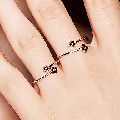 billige Motering-Dame Åpne Ring vikle ring 1pc Rose Gull 18K Gullbelagt S925 Sterling Sølv Dainty damer Koreansk Daglig Valentine Smykker geometriske Blomst Ball