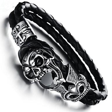 levne Dámské šperky-Kubický zirkon Kotníkové náramky Kožené náramky Geometrické Lebka Vintage Kožené Náramek šperky Černá Pro Dar Denní