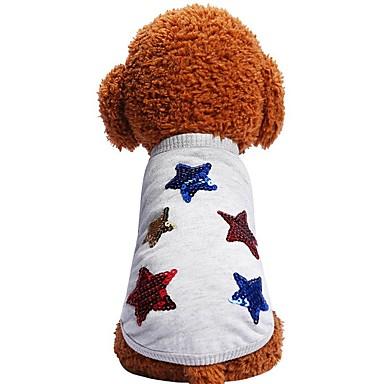 Hunder Katter Kæledyr Trøye / T-skjorte Hundeklær Grå Kostume Dalmatiner Beagle Mops Bomull / Polyester Geometrisk Sitater og uttrykk Stjerner trendy Mote XS S M L XL