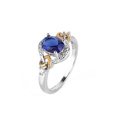 billige Fuskediamant-Dame Forlovelsesring Syntetisk Diamant Blå Kobber Sirkelformet Geometrisk Form damer Ferie Europeisk Fest Gave Smykker geometriske Ball / Oversized