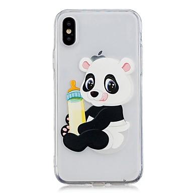 Etui Til Apple iPhone X / iPhone 8 Plus / iPhone 8 Gjennomsiktig / Mønster Bakdeksel Panda Myk TPU