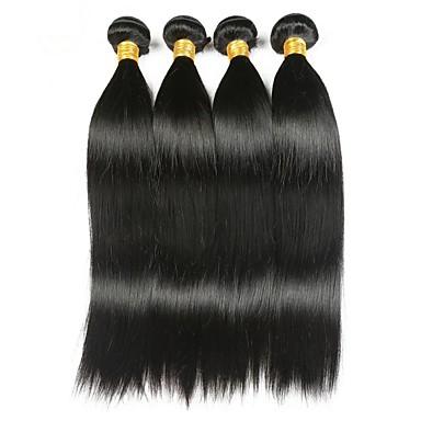 4 pakker Indisk hår Rett Ekte hår Menneskehår Vevet Hairextensions med menneskehår 8-28 tommers Natur Svart Hårvever med menneskehår Stilig Design Beste kvalitet Hot Salg Hairextensions med / Lokkløs