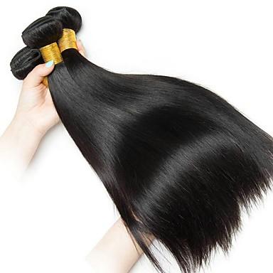 3 pakker Peruviansk hår Rett Ekte hår Menneskehår Vevet Hairextensions med menneskehår Naturlig Farge Hårvever med menneskehår Ekstensjon Hot Salg Hairextensions med menneskehår / 8A