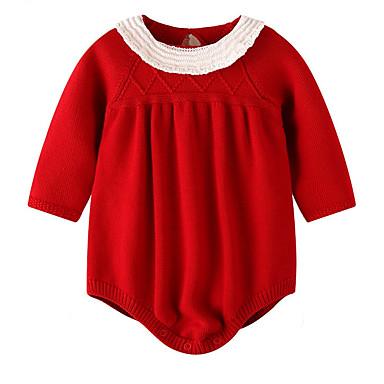 preiswerte Trendige Farben des Sommers-Baby Mädchen Grundlegend Alltag Solide Langarm Baumwolle Einzelteil Rote