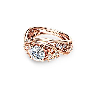 Syntetyczny Diament Pierścionek Zaręczynowy Miedź Pokryte Różowym
