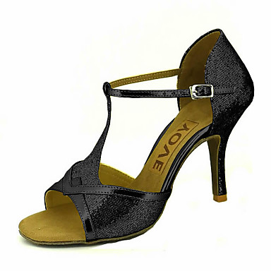 preiswerte YOVE-Damen Tanzschuhe Glitzer / Kunstleder Schuhe für den lateinamerikanischen Tanz / Salsa Tanzschuhe Schnalle / Band-Bindung Sandalen / Absätze Maßgefertigter Absatz Maßfertigung Silber / Rot / Blau