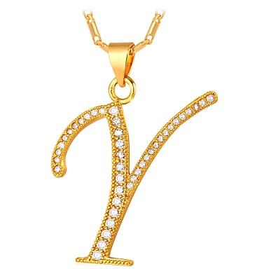 voordelige Dames Sieraden-Kubieke Zirkonia kleine diamant Hangertjes ketting Monogrammen Naam Dames Modieus Verguld Goud Zilver 55 cm Kettingen Sieraden Voor Dagelijks