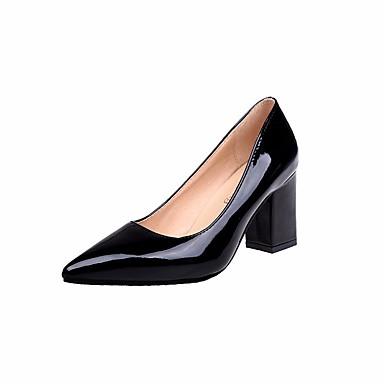 Mujer Zapatos PU Primavera Confort / Pump Básico Tacones Tacón Cuadrado Negro / Rosa / Almendra 2G9xO
