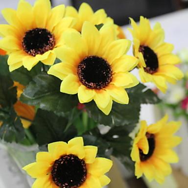 Kunstige blomster 7 Gren Stilfull Rustikk Solsikker kurv av blomster