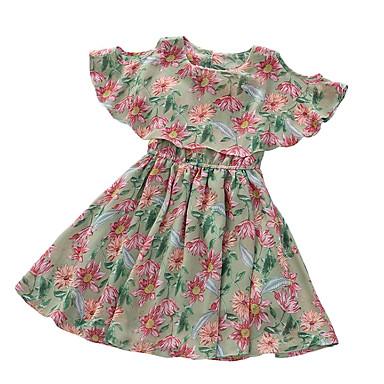 f7e41e95beae Barn Flickor Vintage / Ljuv Blommig Kortärmad Klänning Grön 150 6712995  2019 – $15.95