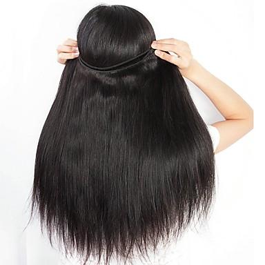 4 pakker Brasiliansk hår Rett Ekte hår En Pack Solution Naturlig Farge Hårvever med menneskehår Kreativ Myk Klassisk Hairextensions med menneskehår / 8A