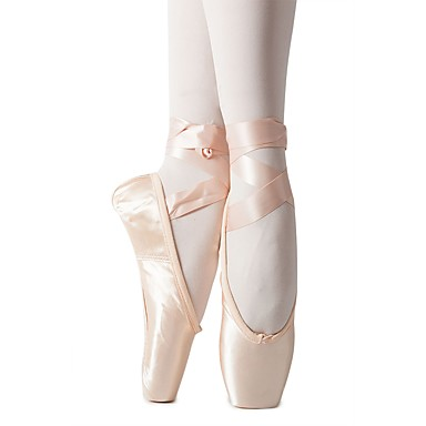 preiswerte Ballettschuhe-Mädchen Tanzschuhe Seide Balletschuhe Band-Bindung Flach, Ballerina Flacher Absatz Maßfertigung Rosa / Innen / Praxis / EU38