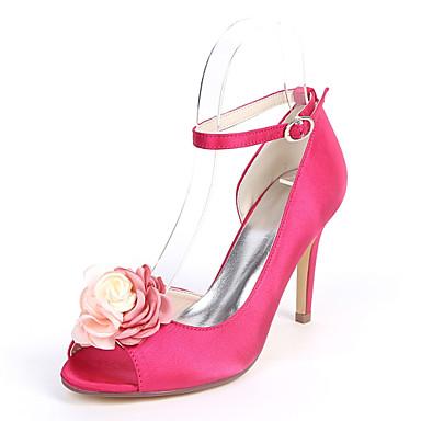 Mujer Zapatos Satén Primavera verano Pump Básico Zapatos de boda Tacón Stiletto Punta abierta Flor de Satén Azul Oscuro / Fucsia / / Boda Vente Pas Cher Recommander mck79