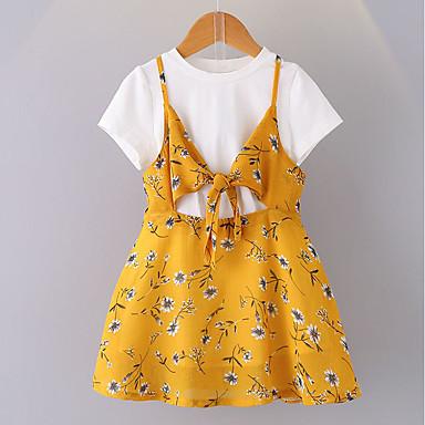 Kinder Baby Mädchen Aktiv Blumen Kurzarm Kleid Gelb ...