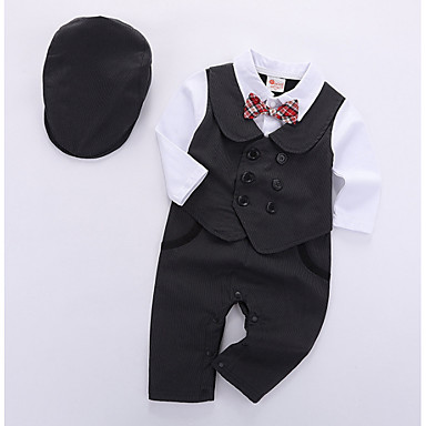 cheap Baby & Kids-Baby Boys' Basic Daily Solid Colored Long Sleeve Regular Clothing Set Black / Toddler