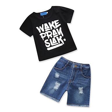 povoljno Odjeća za dječake-Dijete koje je tek prohodalo Dječaci Vintage Osnovni Dnevno Praznik Crno-bijela Print Rupica ripped Print Kratkih rukava Regularna Normalne dužine Pamuk Komplet odjeće Crn