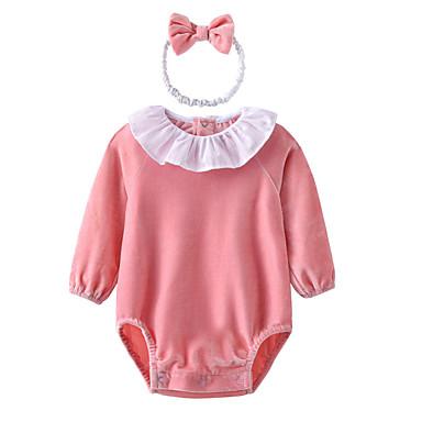 preiswerte Einteiler für kleine Mädchen-Baby Mädchen Grundlegend Solide Langarm Baumwolle Body Rosa