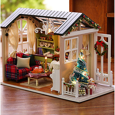 cheap Doll Houses-Dollhouse Creative DIY Exquisite Christmas Mini Furniture Wooden Romantic 1 pcs All Girls' Toy Gift