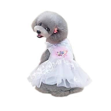 Kæledyr Kjoler Hundeklær Hvit Kostume Bomull / Polyester Nett Violer & Tyndere Ensfarget Blomst Blomster søt stil XS S M L XL
