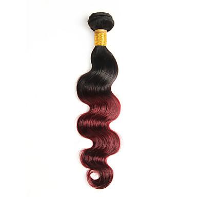 povoljno Ekstenzije od ljudske kose-1 paket Peruanska kosa Wavy Tijelo Wave Virgin kosa Ombre 10-26 inch Ombre Isprepliće ljudske kose Proširenja ljudske kose / 10A
