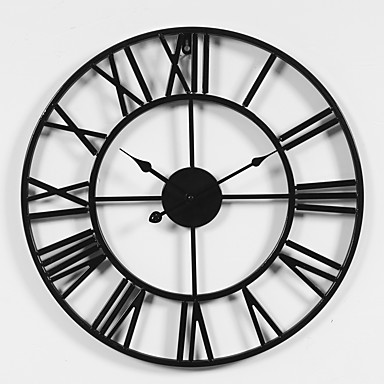 cheap Wall Clocks-Rustic / Designed in China Rhodium Plated / Metal Round Sports / Holiday Indoor / Outdoor / Indoor / Outdoor AA Battery Decoration Wall Clock Yes Others / Specification No