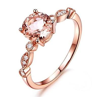 levne Dámské šperky-Dámské Zásnubní prsten Syntetický diamant Světle hnědá Měď Circle Shape dámy Asijský styl Dovolená Obřad Narozeniny Šperky Průhledné Koule Ručně Vyrobeno Magnetické