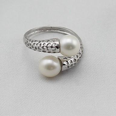 billige Motering-Dame Band Ring Knokering vikle ring Perle Sølv Perle S925 Sterling Sølv Legering damer Klassisk Mote Gave Daglig Smykker