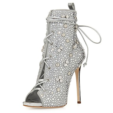 673cbd497a92 Women's Glitter / Leatherette Spring & Summer Ankle Strap / Fashion Boots  Boots Stiletto Heel Peep Toe Booties / Ankle Boots Beading / Sequin /  Sparkling ...