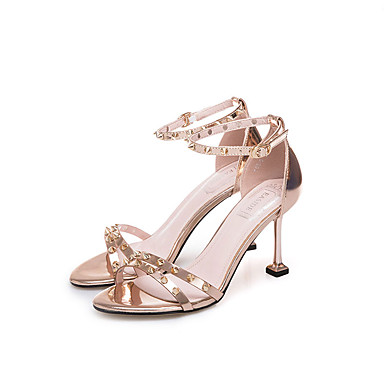 0f69dd552 Women s PU(Polyurethane) Summer Ankle Strap Sandals Walking Shoes Stiletto  Heel Open Toe Rivet Gold   Silver   Party   Evening   Color Block   Party  ...