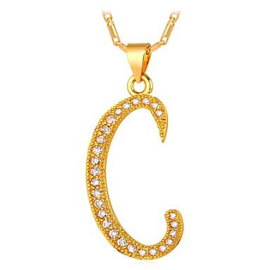 levne Dámské šperky-Pánské Kubický zirkon Náhrdelníky s přívěšky Monogram název Alphabet Shape Písmeno Módní Měď Zlatá Stříbrná 55 cm Náhrdelníky Šperky Pro Dar Denní
