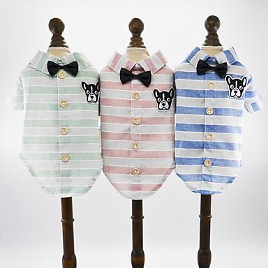 Hunder Katter Kæledyr T-skjorter Hundeklær Grønn Blå Rosa Kostume Dalmatiner Japansk Spitz Beagle Bomull / Polyester Mønstret Dyr Tegneserie Bursdag Britisk XS S M L XL