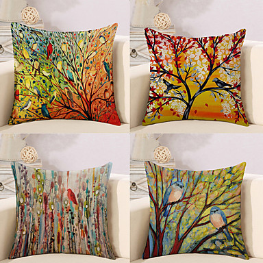cheap Home Decor-Set of 4 Botanical Animal Oil Painting Artistic Pastoral Style Cotton Linen Decorative Square Throw Pillow Covers Set Cushion Case for Sofa Bedroom Car