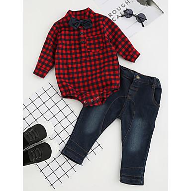 povoljno Odjeća za dječake-Dijete koje je tek prohodalo Dječaci Mašna Karirani uzorak Svečana odjeća Party Dnevno Formalan Karirani uzorak Dugih rukava Regularna Normalne dužine Pamuk Komplet odjeće Red