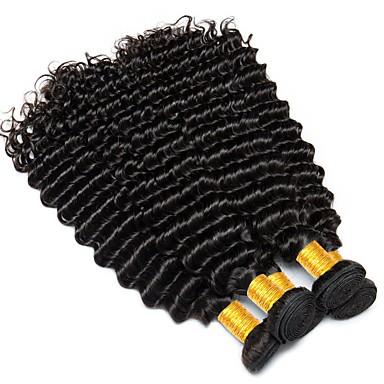 3 pakker Peruviansk hår Krøllet Dyp Bølge Ekte hår Menneskehår Vevet 8-28 tommers Svart Naturlig Farge Hårvever med menneskehår Ekstensjon Hot Salg Til fargede kvinner Hairextensions med menneskehår
