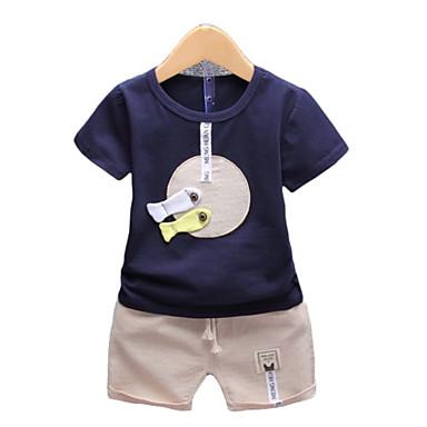 preiswerte Kleidersets für Jungen-Kinder Baby Jungen Aktiv Grundlegend Alltag Festtage Geometrisch Einfarbig Patchwork Kurzarm Standard Baumwolle Kleidungs Set Marineblau