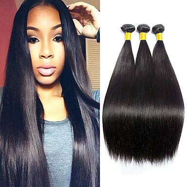 3 pakker Brasiliansk hår Rett Ubehandlet Menneskehår Menneskehår Vevet Hairextensions med menneskehår Naturlig Farge Hårvever med menneskehår Beste kvalitet Hot Salg Til fargede kvinner / 8A