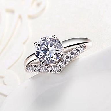 billige Motering-Dame Band Ring Diamant Kubisk Zirkonium liten diamant Sølv Kobber Uregelmessig damer Klassisk Mote Bryllup Engasjement Smykker simulert Snøfnugg