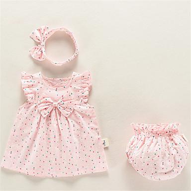 preiswerte Meist Verkaufte-Baby Mädchen Grundlegend Alltag Punkt Ärmellos Standard Kleidungs Set Weiß