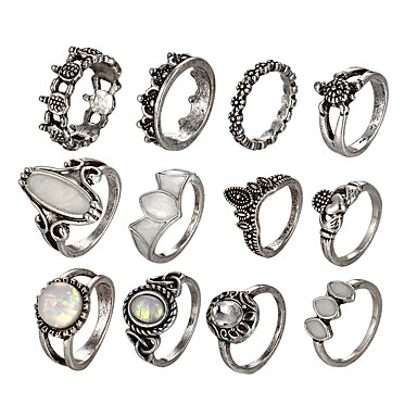 billige Motering-Dame Ring Set Midiringe Stable Ringer Opal Sølv Legering damer Uvanlig Unikt design Nyttår Valentine Smykker Skilpadde