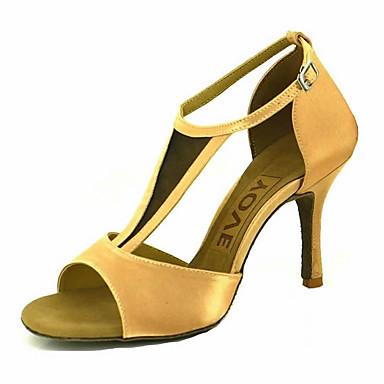 สำหรับผู้หญิง รองเท้าเต้นรำ ซาติน ลาติน / Salsa หัวเข็มขัด / ผูกริบบิ้น รองเท้าแตะ / ส้น ส้นแบบกำหนดเอง ตัดเฉพาะได้ Almond / Nude / ทองแดง / Performance / หนังสัตว์ / มืออาชีพ